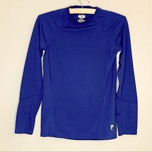 Boys Fila thumbhole long sleeve shirt blue 10/12 M